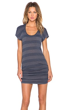Stateside Rugby Stripe Ruched Mini Dress in Charcoal