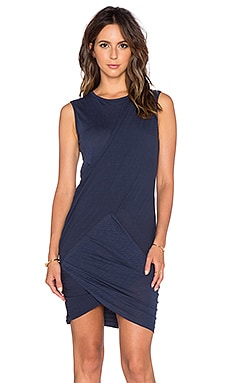 Stateside Crossover Ruched Mini Dress in Navy