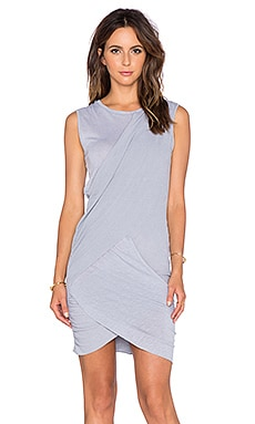 Stateside Crossover Ruched Mini Dress in Silver