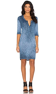 Stateside Oil Wash Supima Slub Jersey 3/4 Sleeve Mini Dress in Navy