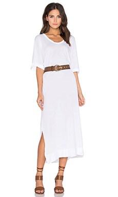 Stateside Royal Supima Jersey Light Scoop Neck Short Sleeve Maxi Dress in White