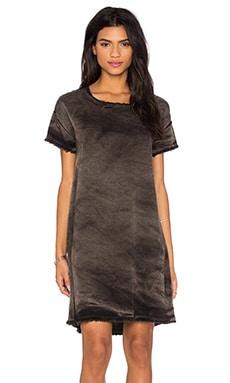 Stateside Vintage Wash Tencel Woven Short Sleeve Shift Dress in Black