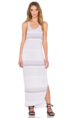 Crinkle Auto Stripe Tank Dress in White