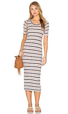 Rib Stripe Scoop Neck Short Sleeve Dress