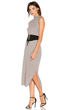 Crepe Knit Midi Dress in Silver