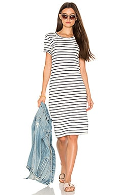 Navy Cream Stripe T Shirt Dress