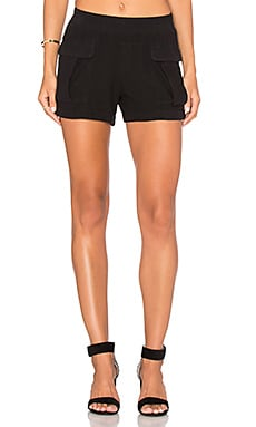 Stateside Natural Silk Noil Front Pocket Short in Black