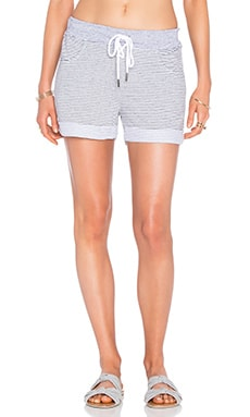 Skinny Heather Grey Stripe French Terry Short en Blanco
