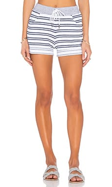 Stateside Navy Stripe French Terry Short in White