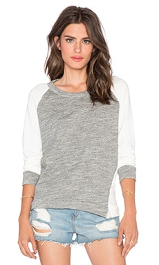 Stateside French Terry Colorblock Sweatshirt in White