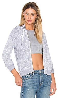 Boucle Zip Up Hoodie in Heathered White