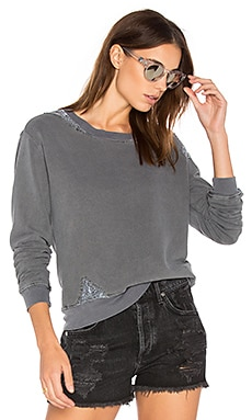 French Terry Sweatshirt with Lace in Charcoal