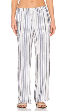 Stateside Vertical Charcoal Stripe Veil Pant in Natural