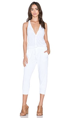 Stateside Button Front Jumpsuit in White