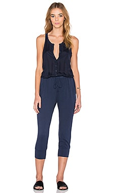 Stateside Button Front Jumpsuit in Navy