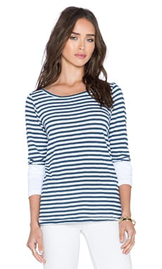 Stateside Navy Classic Stripe Long Sleeve Tee in White