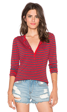 Stateside Classic Stripe Henley in Cherry