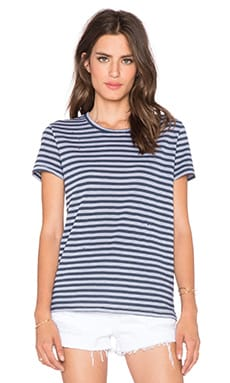 Stateside Classic Stripe Tee in Silver