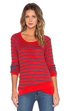Stateside Stripe Layered Long Sleeve Tee in Cherry