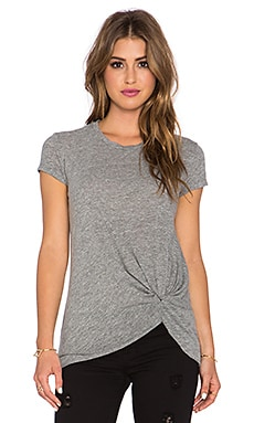 Stateside Twist Front Tee in Heather Grey