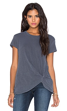 Stateside Twist Front Tee in Charcoal