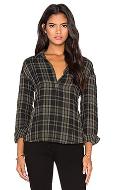 Stateside Double Face Plaid Button Up in Fern