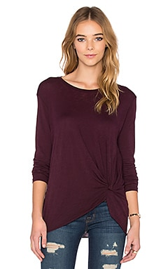 Stateside Twist Front Long Sleeve Tee in Plum