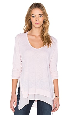 Stateside Layered V Neck Tee in Blush