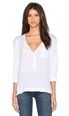 Stateside Royal Supima Jersey Light Long Sleeve Henley in White