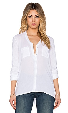 Stateside Bubble Gauze Long Sleeve Button Up in White
