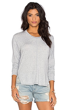 Linen Sweater Long Sleeve Crew Neck Top in Dusty Blue