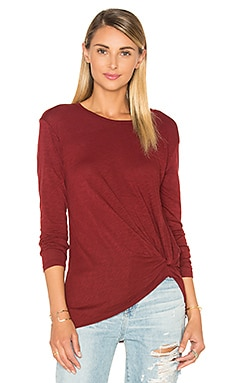 Slub Jersey Knotted Long Sleeve in Ruby