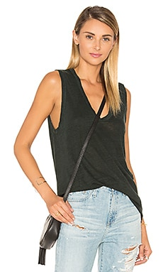 Linen Jersey V-Neck Tank in Hunter