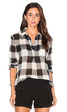 Stateside Gauze Plaid Shirting Long Sleeve Top in Black