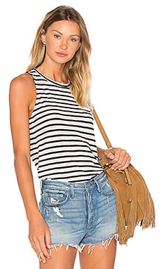 Slub Black Stripe Tank in Cream