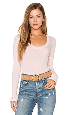 Scoop Neck Rib Tee in Peach
