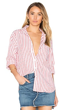 Oxford Shirting Button Up in Red Stripe