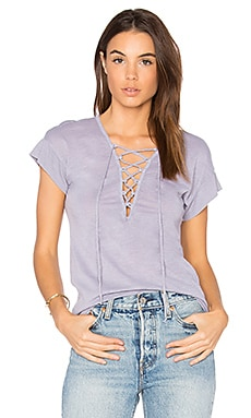 Lace Up Tee in Silver