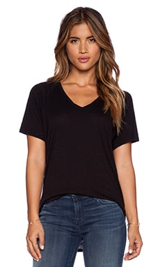 Stateside Raglan V Neck Tee in Black