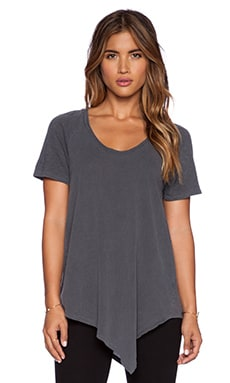 Stateside Asymmetric Hem Tee in Charcoal
