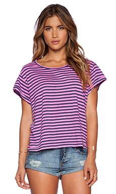 Stateside Stripe Crop Tee in Pink