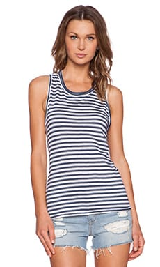 Stateside Stripe Muscle Tank in Navy