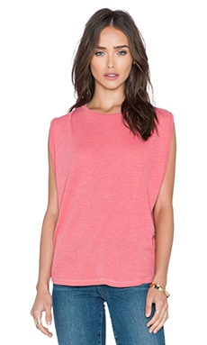 Stateside Ribbed Boxy Tank in Chili