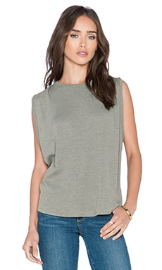 Stateside Ribbed Boxy Tank in Fern