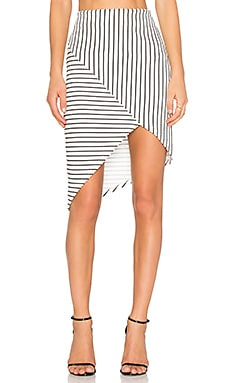 State of Being Textured Stripe Skirt in White & Black