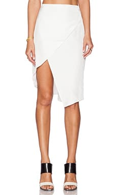 State of Being Crossover Asymmetric Skirt in White