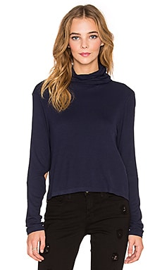 State of Being Fine RIb Roll Neck Top in Navy