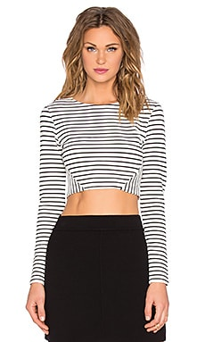 State of Being Textured Stripe Crop Top in White & Black