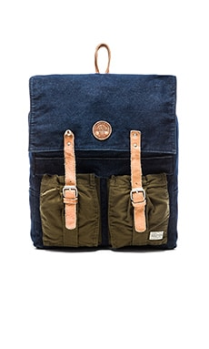 Scotch & Soda Mixed Fabric Leather Backpack in Night