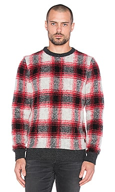 Scotch & Soda Lightweight Crewneck Pullover Brushed Quality in Red Grey
